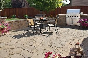 flagstone patio with grill