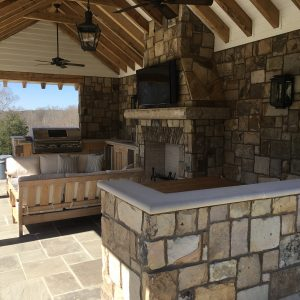 Breakfast bar for pool cabana supplied by Fieldstone Center and installed by The Rock Masonry Company