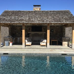 Pool cabana with stone supplied by Fieldstone Center and installed by The Rock Masonry Company